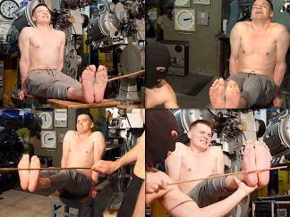 Falaka boy punishment on bare feets for Russian boy. Russian bastinado.
