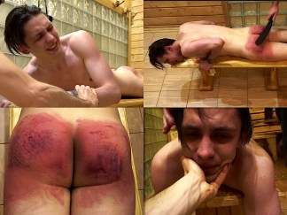 Lad spanking by martinet and belt video