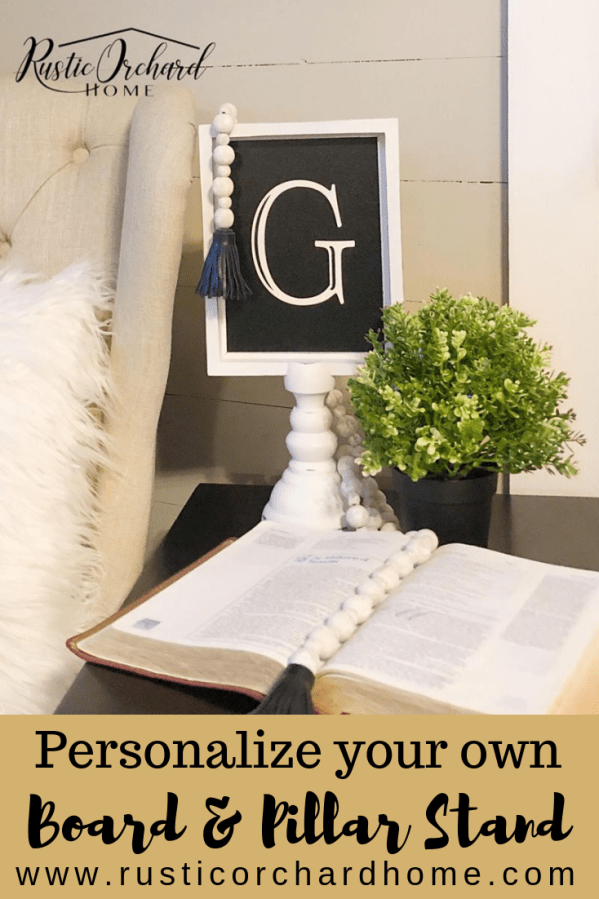 Let me show you how to use the Chalk Couture Board and Pillar Stand to create adorable monogram DIY home decor projects! #rusticorchardhome #chalkcouture #boardandpillarstand #diyhomedecor #homedecordiy