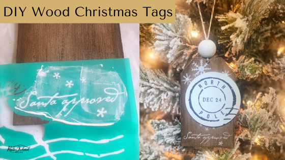Make your own DIY Wood Christmas tags! These are adorable for anyone who loves a Christmas farmhouse decor look! #rusticorchardhome #diychristmas #christmascraft #farmhousechristmas #diychristmasdecor