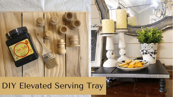 Create a DIY elevated serving tray to use for your coffee bar or hot cocoa bar! This is perfect for DIY farmhouse decor lovers!! #rusticorchardhome #coffeebar #hotcocoabar #farmhousetray #diyservingtray
