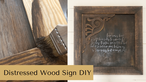 This distressed wood sign DIY will leave you inspired to create lots of DIY farmhouse home decor! #rusticorchardhome #farmhousedecor #distressedsign #howtomakeasign #diysigntutorial