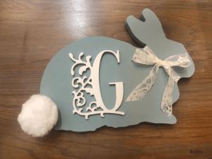 Use an unfinished bunny cutout to create an adorable Easter craft that you can use around you home all Spring. #rusticorchardhome #eastercraft #springhomedecor #easterdecor #springfarmhousestyle