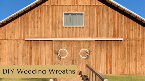 Learn how to make Rustic Wedding Wreaths with this budget friendly wedding decor idea. #rusticorchardhome #weddingdecor #rusticwedding #weddingwreaths #weddingdecoronabudget