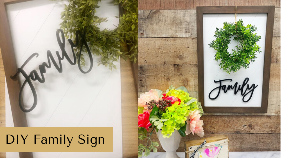 You can make your own DIY Wood Family Sign with this simple tutorial. All you'll need are a few wooden cutouts, some paint and glue. #rusticorchardhome #diyfamilysign #diyfarmhousedecor #diyfarmhousestyle #diyhomedecor