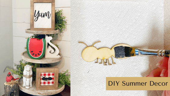 This DIY Summer Decor idea is so much fun! Paint your own watermelon, ant & yum themed blank wood pieces to get a complete look! #rusticorchardhome #diysummerdecor #summerdecoridea #summercraft #summerdecorcraft