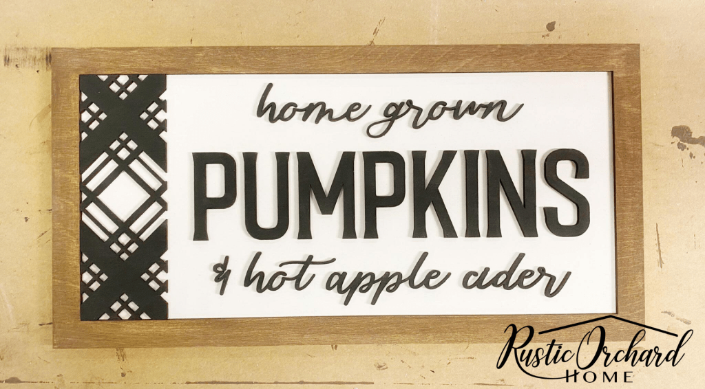 Make your own Home Grown Pumpkins Signs with this fun 3-dimensional wood sign kit! Such a unqiue farmhouse fall home decor craft.