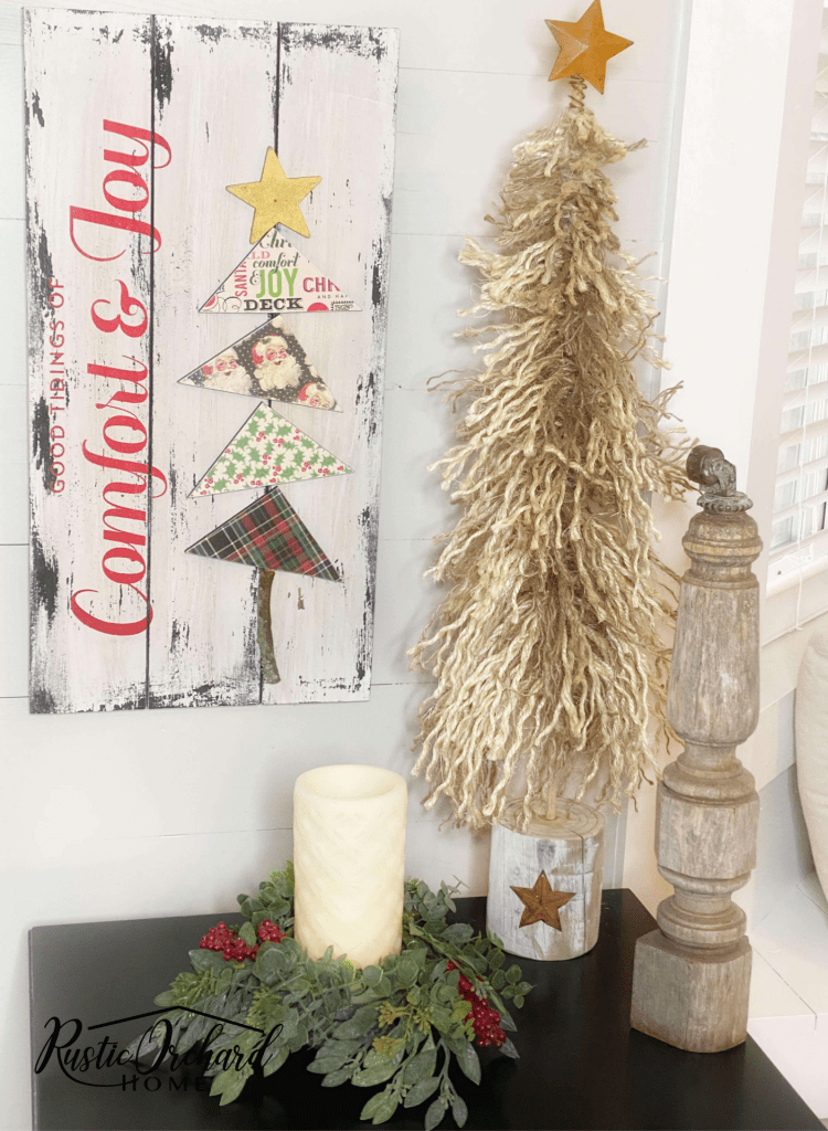 This DIY Comfort & Joy Christmas Sign is perfect as home decor or as a handmade gift.