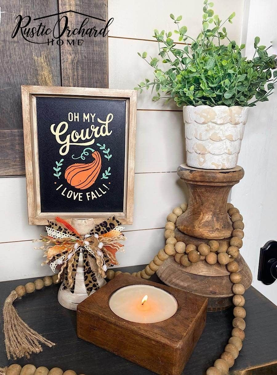 """My """"Oh My Gourd, I Love Fall"""" DIY Sign ideas will leave you with all the inspiration you need for the upcoming season. In this post, I'm going to give you two sign ideas PLUS my super simple Scrappy Bow Tutorial."""