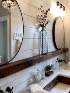 Modern Farmhouse Rustic White Neutral Living Rooms on Rustic Farmhouse Bathroom Tile  id=55264
