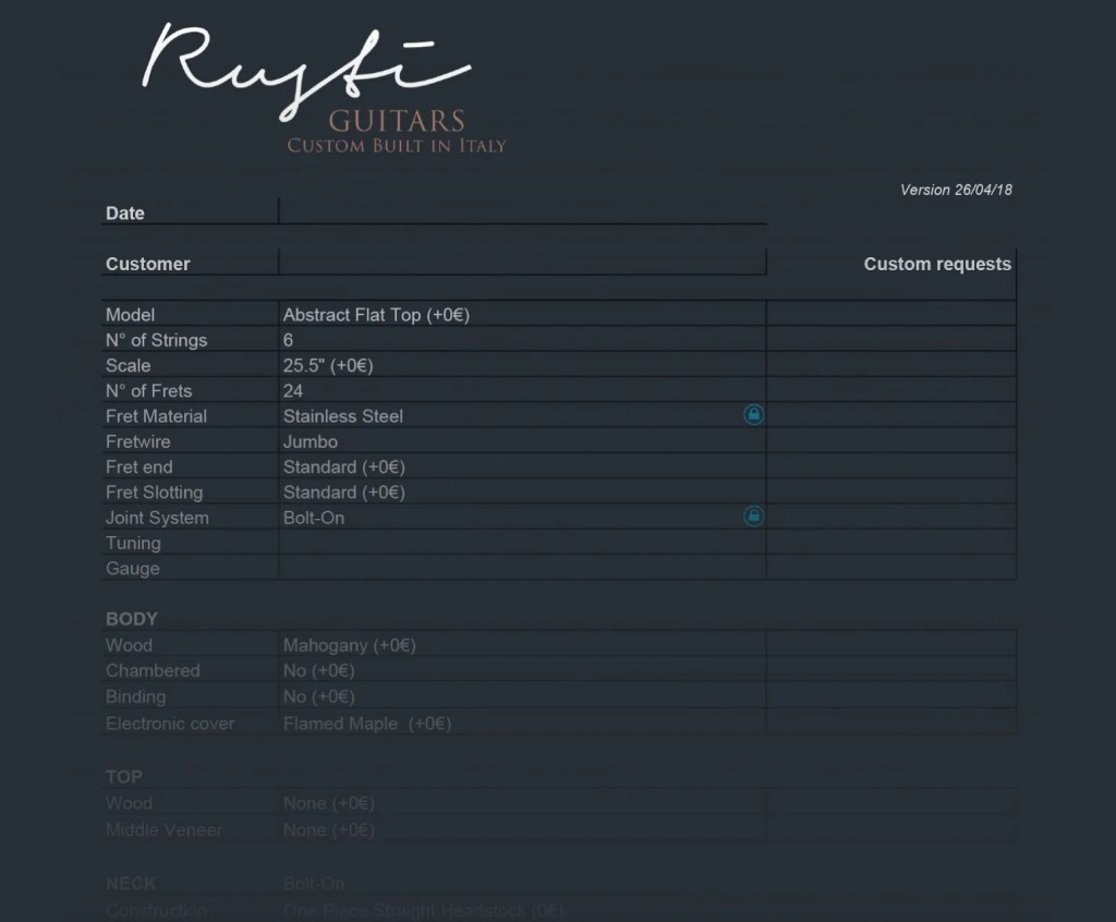 rustiguitars custom orders