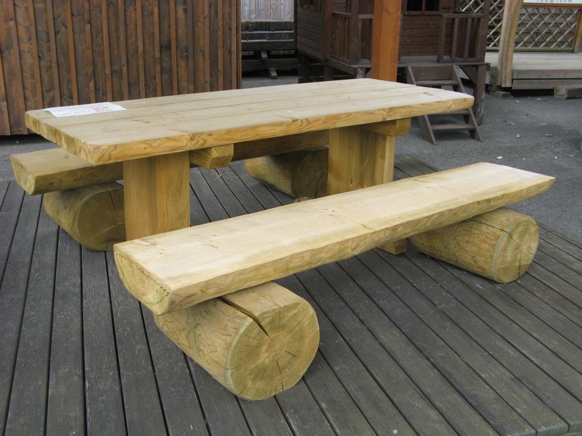 jardin banc table pique nique en bois