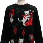 Cat Tastic Ugly Christmas Sweater Nut Cracker Unisex Black Background Acrylic Blend Longsleeve Pullover Ugly Christmas Sweater Round Neckline With Holly Boughs Ornaments Bells Kittens Candy Canes And Presents Moderate Pilling Made For