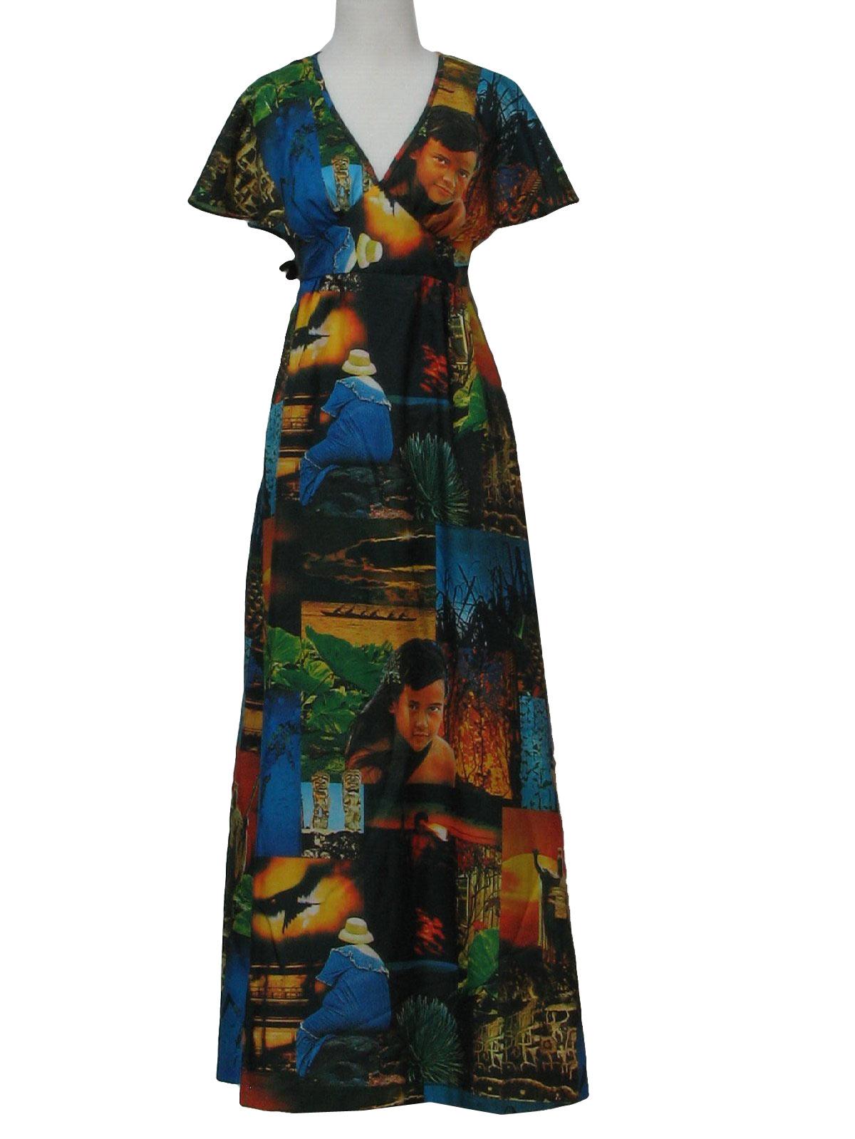Komai 70 S Vintage Hawaiian Dress 70s Komai Womens