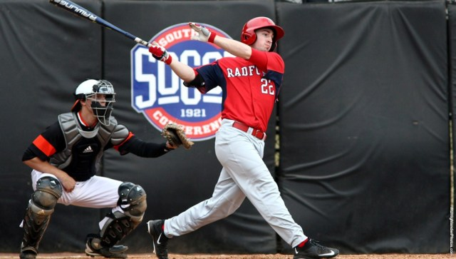 Shane Johnsonbaugh connects on a home run. Courtesy of Radford Athletics