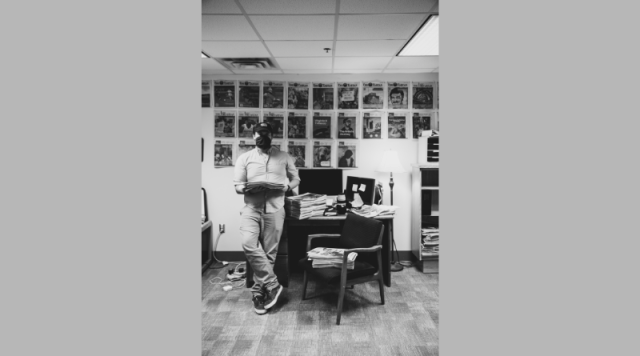 Man stands in office