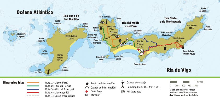 Mapa Cíes Islas Cíes Rutas Senderismo