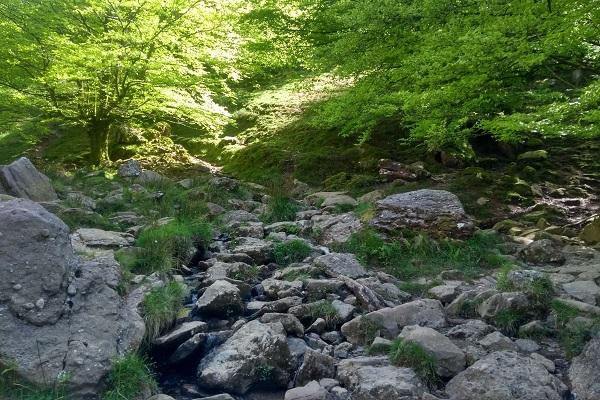 Paso junto al arroyo antes de girar a la derecha