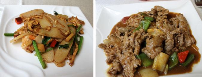 Plato principal: Ternera con salsa de curry verde y pasta de arroz 8 tesoros - El Bund