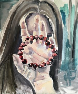 girl holding berry circle in front of her face, realism painting