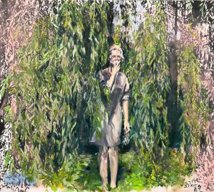 young woman eating apple by the willow tree branches, figurative impressionist painting