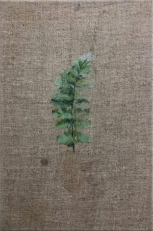 fern grass painted on natural linen