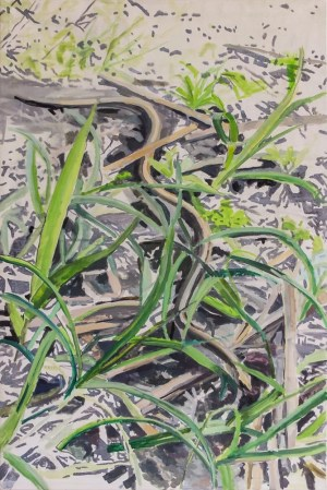 snake in green grass, realism impressionism style painting