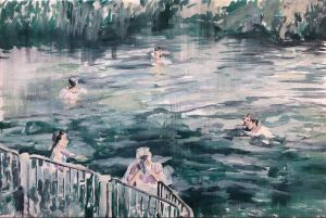 people bathing in river, marine landscape figurative artwork