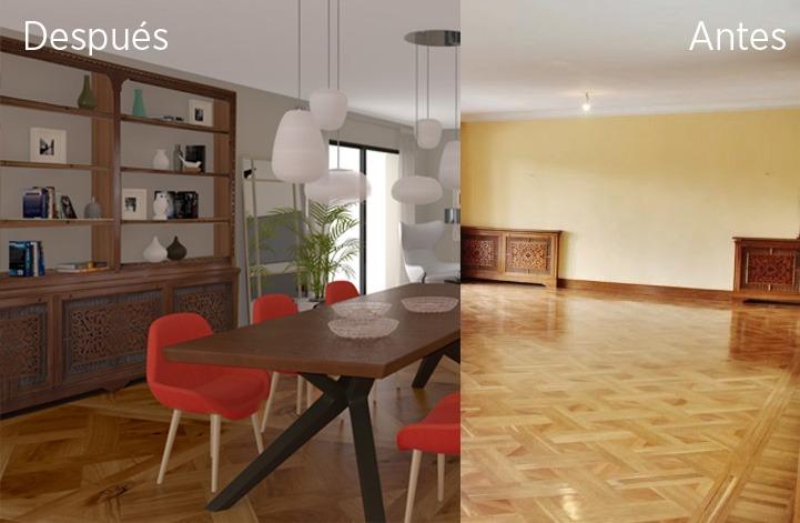 Proyecto de decoración. Un salón comedor con dos salones