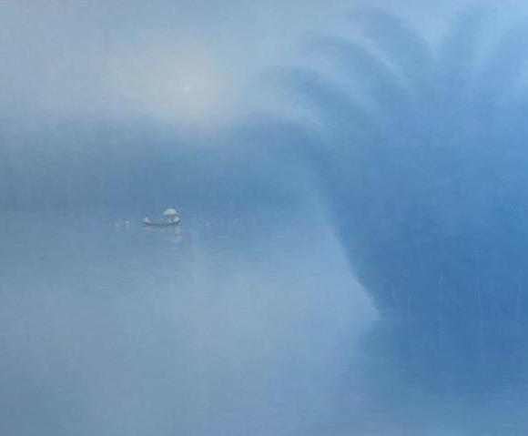 Crossing the river 110x150 cm - Bui Van Hoan - Luxembourg Art Galerie