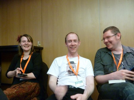 Myself, Rob Adams and Cameron Johnson at the Planet Scotland readings (part 1).