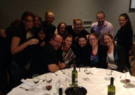 Fantasycon 2014 Redcloak Team: (l - r Ewa, Me, Nazia, Andy, Alasdair, Katherine, Marguerite, Chloe, Janneke, Marleen, Gav, Babs and Helen.