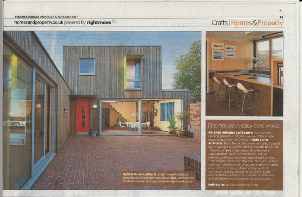 Ruth Butler Architects in Evening Standard