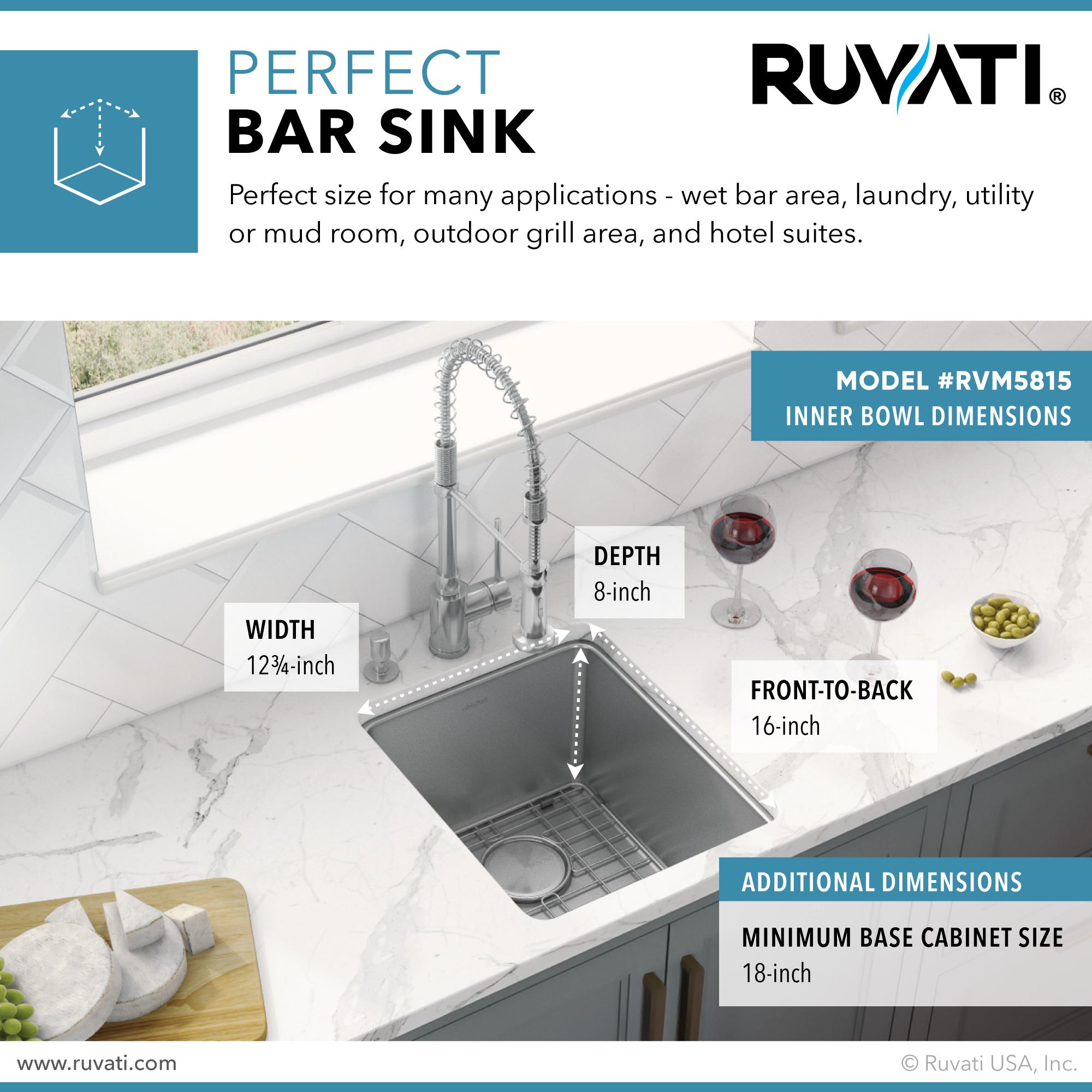 15 inch undermount bar prep kitchen