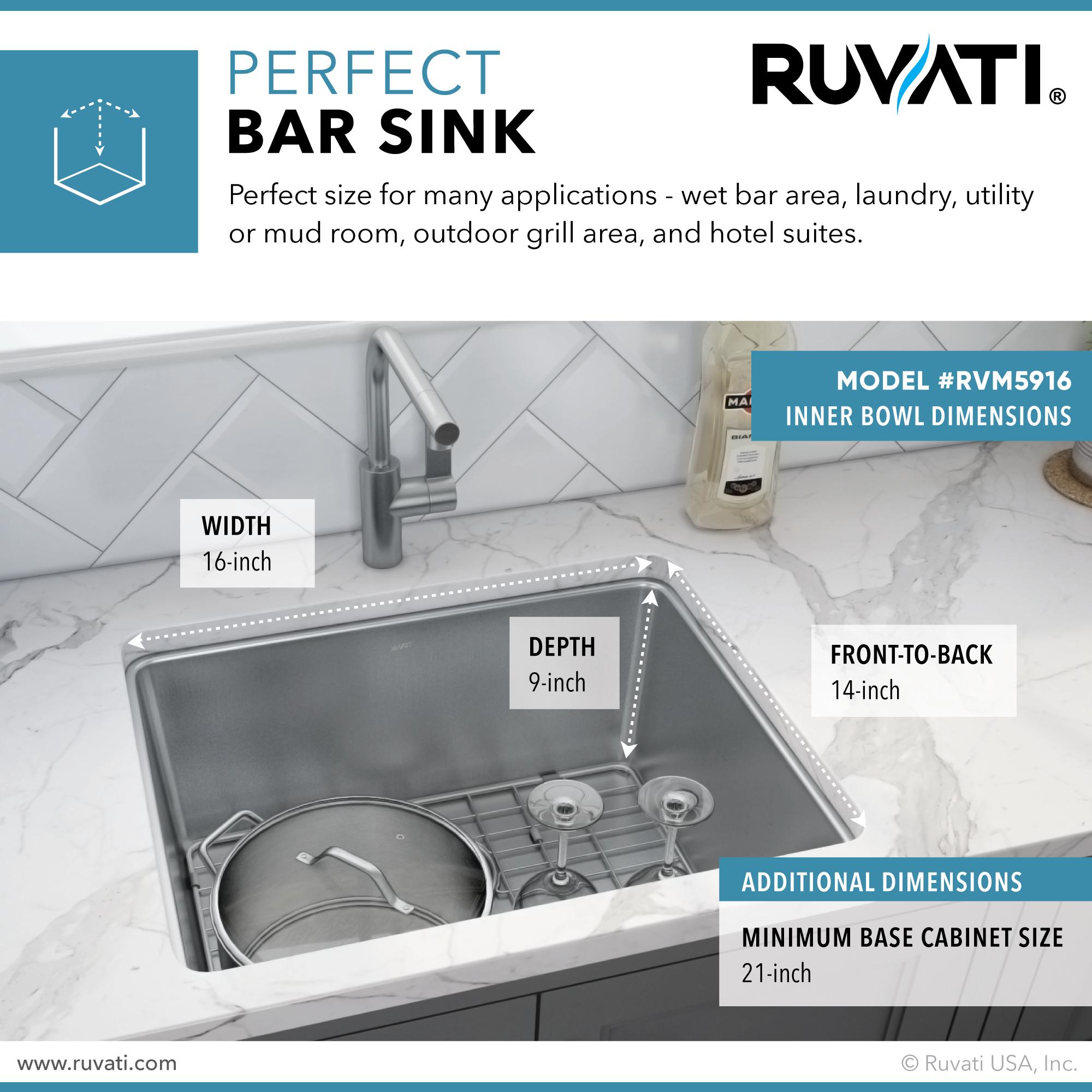 18 inch undermount bar prep kitchen