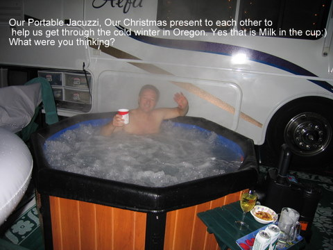 jacuzzi,portable,shady cove,or,winter,rv,camping