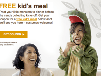 FREE kid's meal at Olive Garden on Halloween