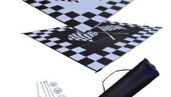 RV Patio Mat Awning Outdoor Rug Trailer Complete Kit 9x12 Finish Line Flags