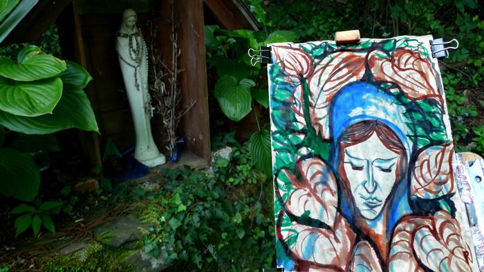 ink painting - Vierge de la Fonte # 18