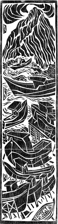crowned hill - woodcut