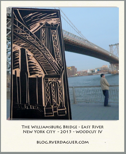 Williamsburg Bridge - woodcut on site.