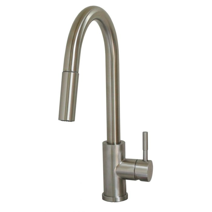 rv kitchen faucet metal single lever gooseneck spout with pulldown sprayer magnetic catch deckplate brushed nickel