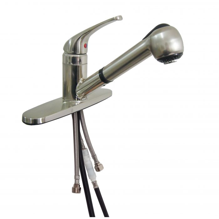 brushed nickel rv mobile home pullout faucet with single lever sprayhead stream or spray option 3 or 1 hole sink
