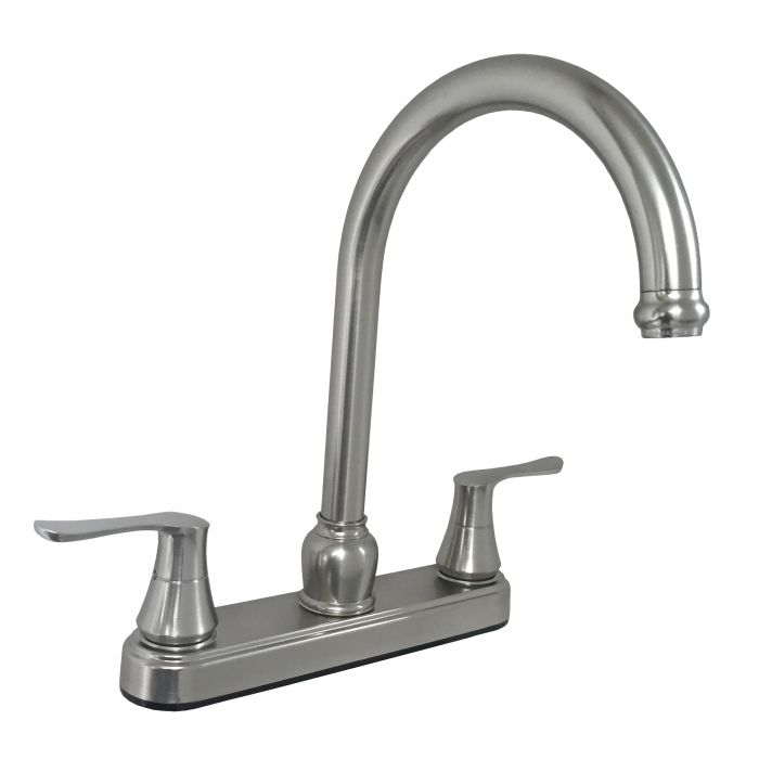 brushed nickel rv mobile home kitchen faucet with 25mm gooseneck spout solid sabre handles