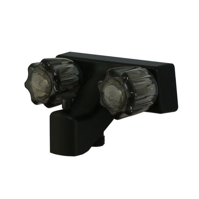 4 empire rv matte black tub shower diverter with vacuum breaker acrylic handles