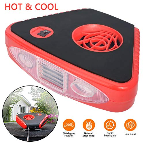 2 in 1 Cooling Heating Function Window Windshield Demister Defroster 30S Fast Heating Portable Car Auto Vehicle Electronic Heater or Fan 12V Portable Car Heater Fan 150W- Black.