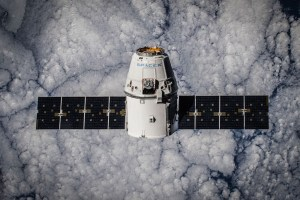 The SpaceX Dragon in orbit.