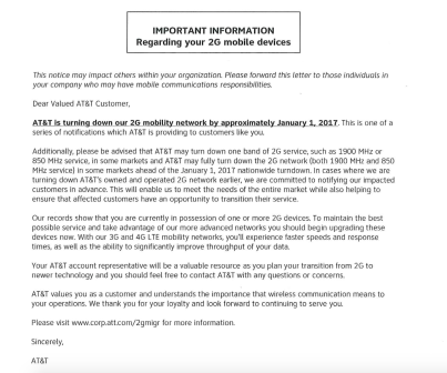 A lot of people with older AT&T devices still active have been getting letters similar to this one.
