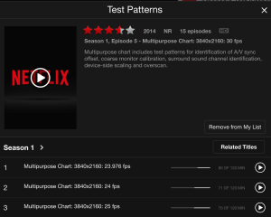 """Search for """"Test Patterns"""" on Netflix, and you can watch special streams that will show you your resolution and data rate."""
