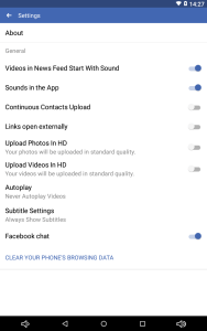 Android Facebook App Settings
